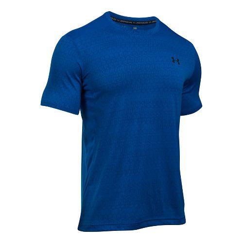 Mens Under Armour Raid Jacquard Short Sleeve Technical Tops - Blue Marker/Royal L