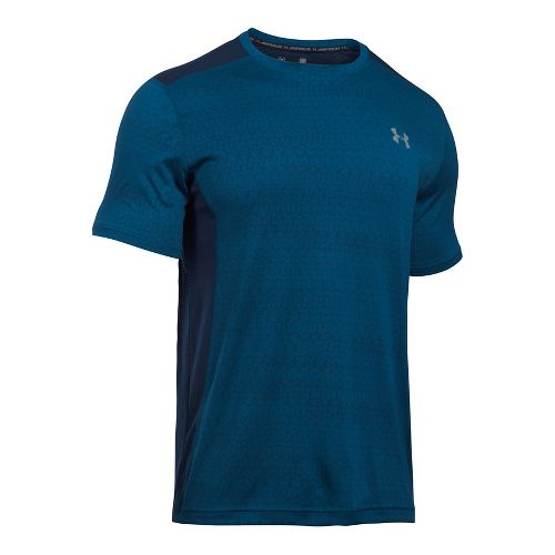 Mens Under Armour Raid Jacquard Short Sleeve Technical Tops - Blackout Navy/Navy M