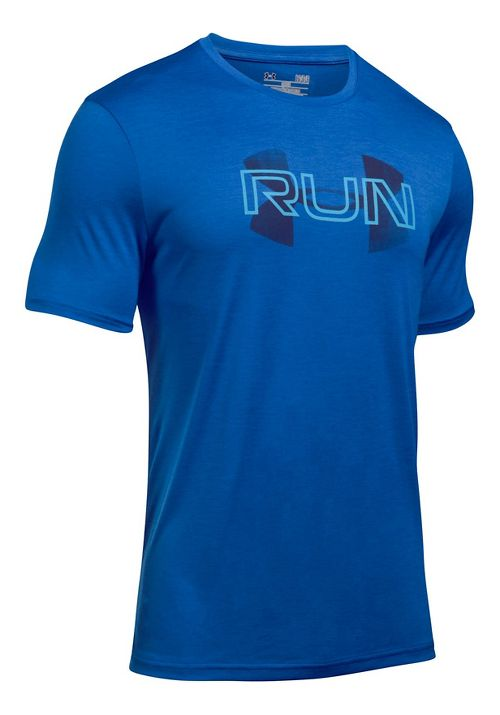 Mens Under Armour Run Overlap Twist Short Sleeve Technical Tops - Blue Marker L