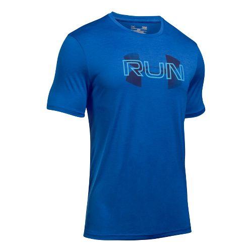 Mens Under Armour Run Overlap Twist Short Sleeve Technical Tops - Blue Marker L
