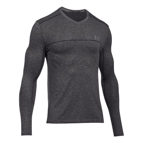 Mens Under Armour Threadborne Seamless Run Long Sleeve Technical Tops - Carbon Heather M