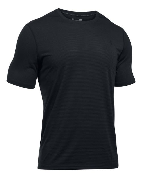 Mens Under Armour Threadborne Stripe Short Sleeve Technical Tops - Black L
