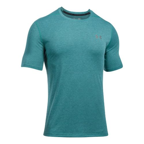 Mens Under Armour Threadborne 3C Twist Short Sleeve Technical Tops - Turquoise Sky 3XL