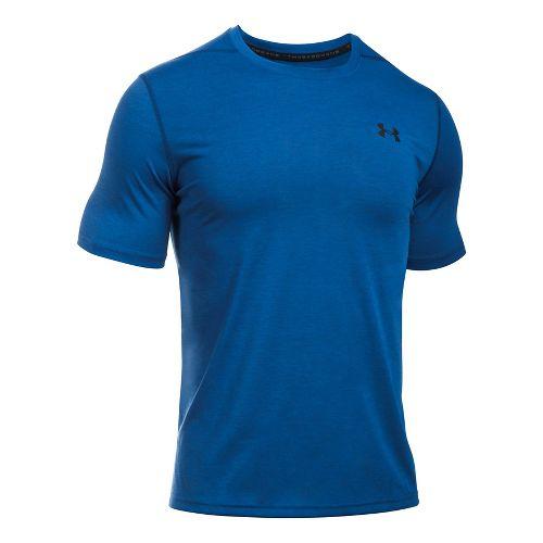 Mens Under Armour Threadborne 3C Twist Short Sleeve Technical Tops - Raisin Red XL