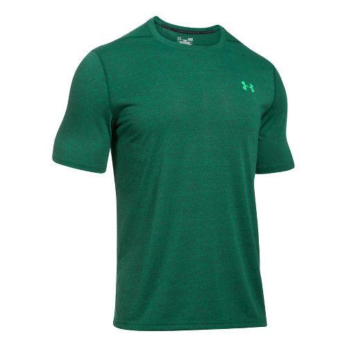 Mens Under Armour Threadborne 3C Twist Short Sleeve Technical Tops - Blue Marker/Green M