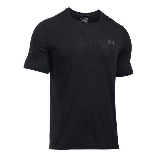 Mens Under Armour Threadborne Emboss Short Sleeve Technical Tops - Black S