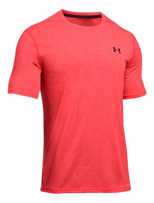 Mens Under Armour Threadborne Emboss Short Sleeve Technical Tops - Marathon Red XXL