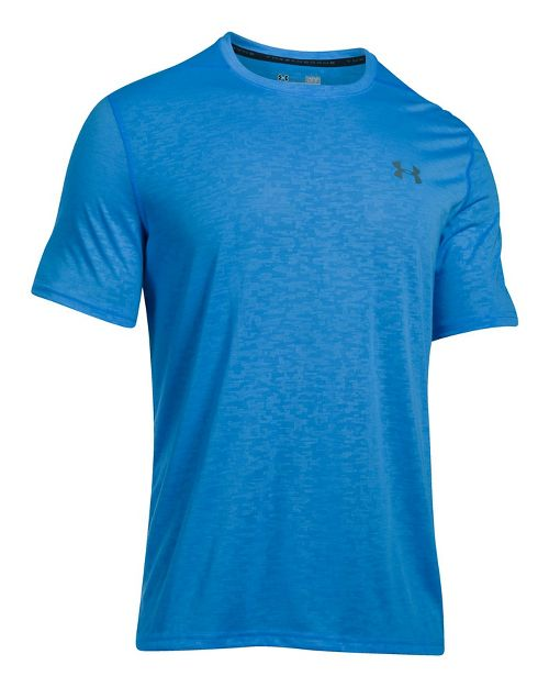 Mens Under Armour Threadborne Emboss Short Sleeve Technical Tops - Mako Blue M