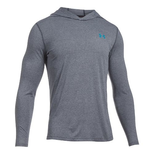 Mens Under Armour Threadborne Half-Zips & Hoodies Technical Tops - Stealth Grey/Blue L