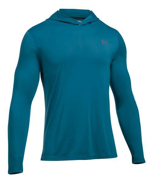 Mens Under Armour Threadborne Half-Zips & Hoodies Technical Tops - Bayou Blue XXL