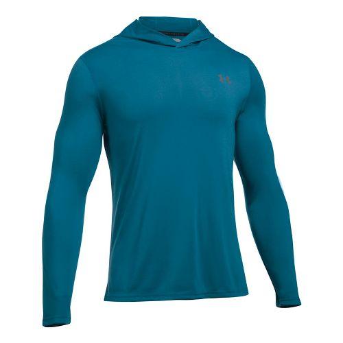 Mens Under Armour Threadborne Half-Zips & Hoodies Technical Tops - Bayou Blue M