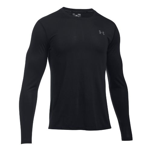 Mens Under Armour Threadborne Long Sleeve Technical Tops - Black/Graphite L