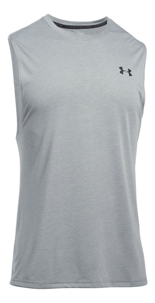 Mens Under Armour Threadborne Muscle Sleeveless & Tank Tops Technical Tops - True Grey Heather XXL