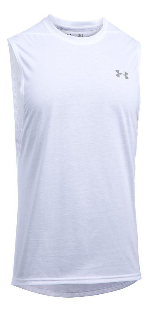 Mens Under Armour Threadborne Muscle Sleeveless & Tank Tops Technical Tops - White 3XL