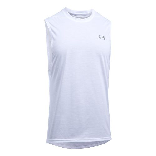 Mens Under Armour Threadborne Muscle Sleeveless & Tank Tops Technical Tops - White L