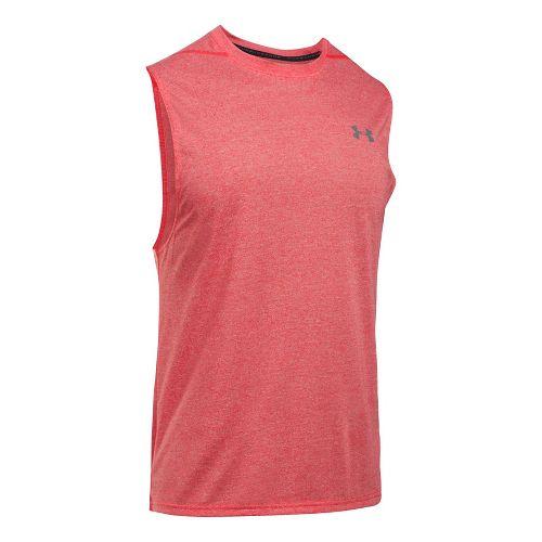 Mens Under Armour Threadborne Muscle Sleeveless & Tank Tops Technical Tops - Pomegranate M