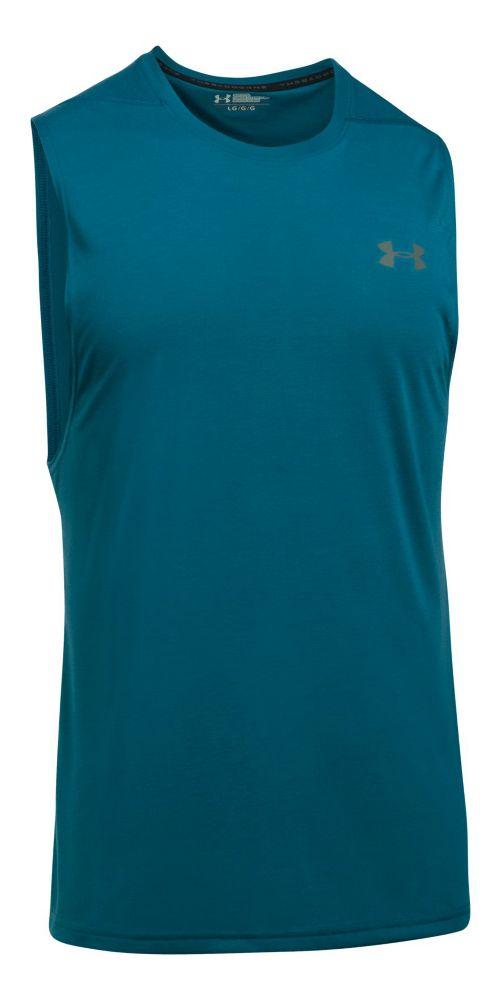 Mens Under Armour Threadborne Muscle Sleeveless & Tank Tops Technical Tops - Bayou Blue L
