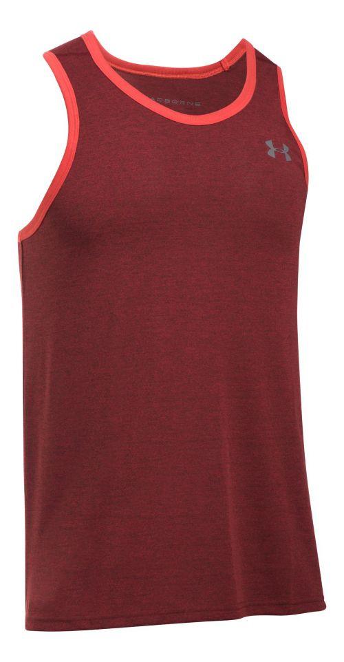 Mens Under Armour Threadborne Novelty Sleeveless & Tank Tops Technical Tops - Pomegranate M