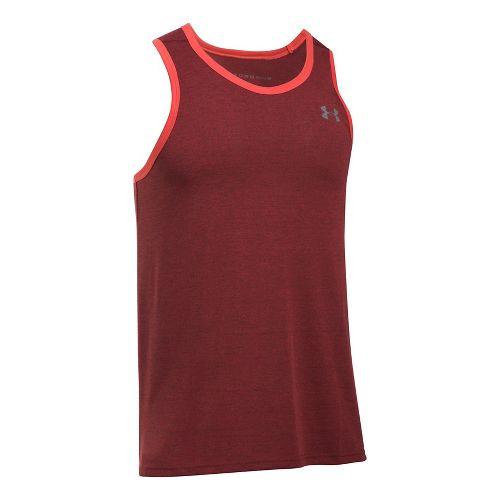 Mens Under Armour Threadborne Novelty Sleeveless & Tank Tops Technical Tops - Pomegranate L