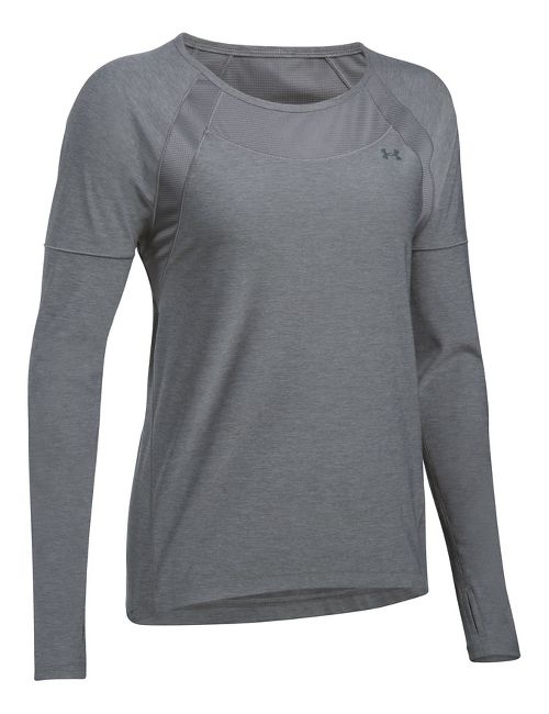 Womens Under Armour Sport Twist Long Sleeve Technical Tops - Graphite S