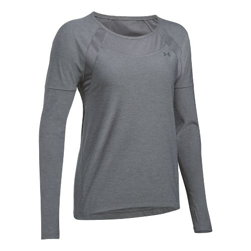 Womens Under Armour Sport Twist Long Sleeve Technical Tops - Graphite XS