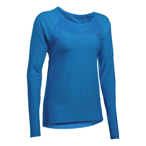 Womens Under Armour Sport Twist Long Sleeve Technical Tops - Mediterranean XS