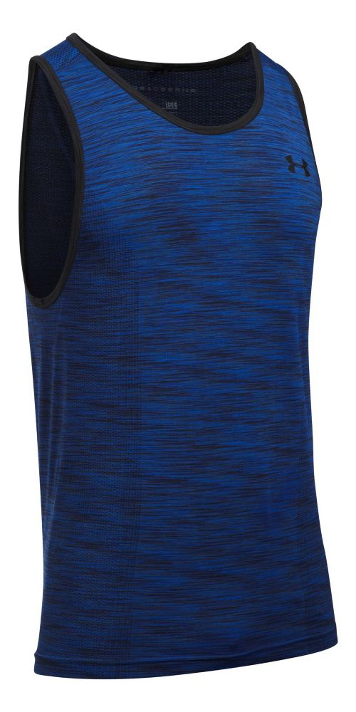 Mens Under Armour Threadborne Seamless Sleeveless & Tank Tops Technical Tops - Blue Marker S ...