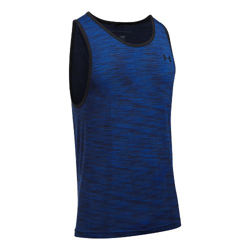 Mens Under Armour Threadborne Seamless Sleeveless & Tank Tops Technical Tops - Blue Marker M ...
