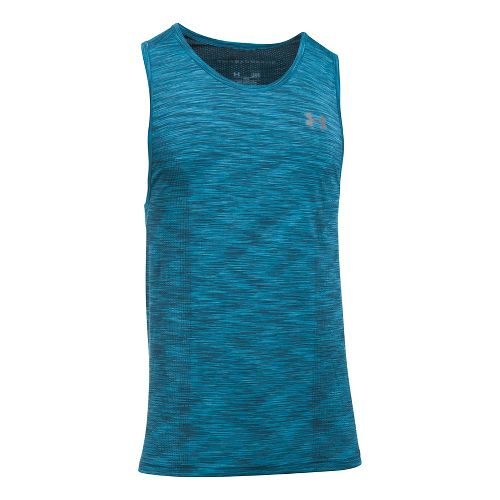 Mens Under Armour Threadborne Seamless Sleeveless & Tank Tops Technical Tops - Bayou Blue XXL