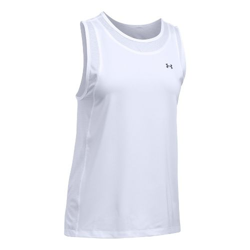 Womens Under Armour Sport Muscle Sleeveless & Tank Tops Technical Tops - White XL