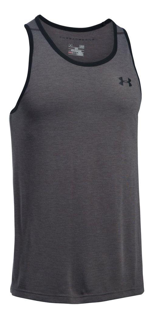 Mens Under Armour Threadborne Sleeveless & Tank Tops Technical Tops - Carbon Heather/Black XXL