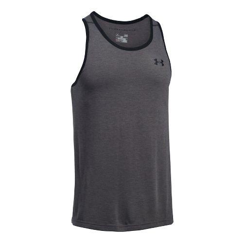 Mens Under Armour Threadborne Sleeveless & Tank Tops Technical Tops - Carbon Heather/Black L