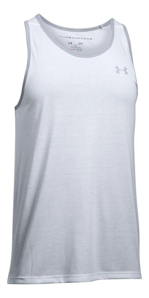 Mens Under Armour Threadborne Sleeveless & Tank Tops Technical Tops - White/Overcast Grey M