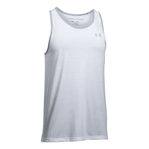 Mens Under Armour Threadborne Sleeveless & Tank Tops Technical Tops - White/Overcast Grey M