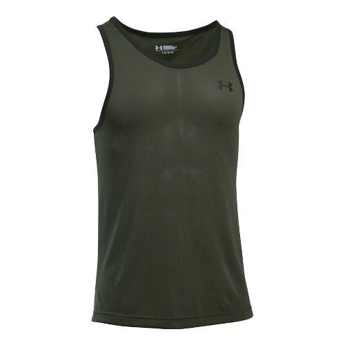 Mens Under Armour Threadborne Sleeveless & Tank Tops Technical Tops - Downtown Green/Green L