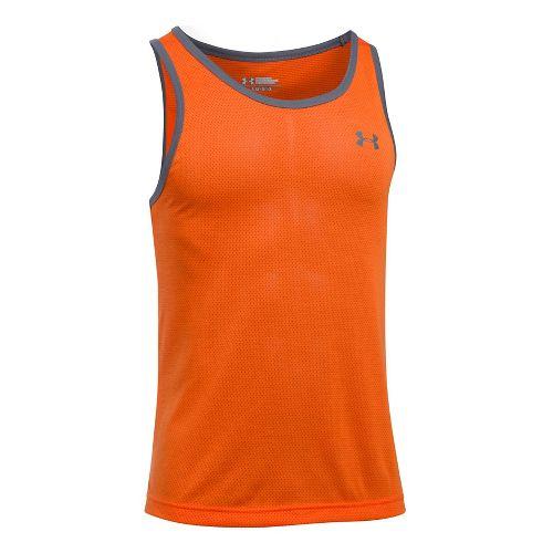 Mens Under Armour Threadborne Sleeveless & Tank Tops Technical Tops - Orange/Graphite L