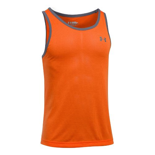 Mens Under Armour Threadborne Sleeveless & Tank Tops Technical Tops - Orange/Graphite XXL