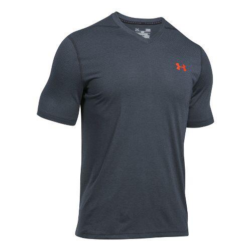 Mens Under Armour Threadborne V-Neck Novelty Short Sleeve Technical Tops - Stealth Grey/Phoenix S