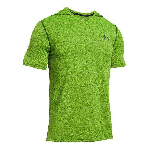 Mens Under Armour Threadborne V-Neck Novelty Short Sleeve Technical Tops - Blue Marker/Green 3XL