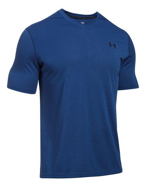 Mens Under Armour Threadborne V-Neck Novelty Short Sleeve Technical Tops - Blue Marker/Green M