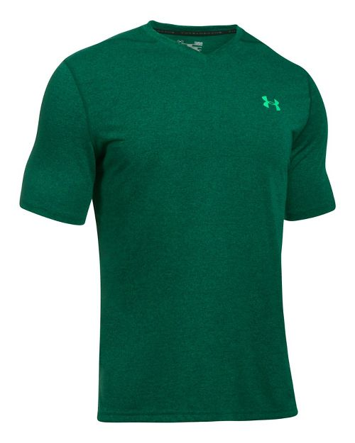 Mens Under Armour Threadborne V-Neck Novelty Short Sleeve Technical Tops - Blue Marker/Green M
