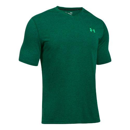 Mens Under Armour Threadborne V-Neck Novelty Short Sleeve Technical Tops - Blue Marker/Green S