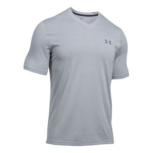 Mens Under Armour Threadborne V-Neck Novelty Short Sleeve Technical Tops - Overcast Grey/Grey S