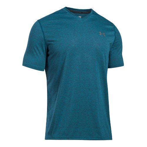Mens Under Armour Threadborne V-Neck Novelty Short Sleeve Technical Tops - Bayou Blue XL