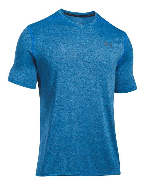 Mens Under Armour Threadborne V-Neck Novelty Short Sleeve Technical Tops - Mako Blue XL