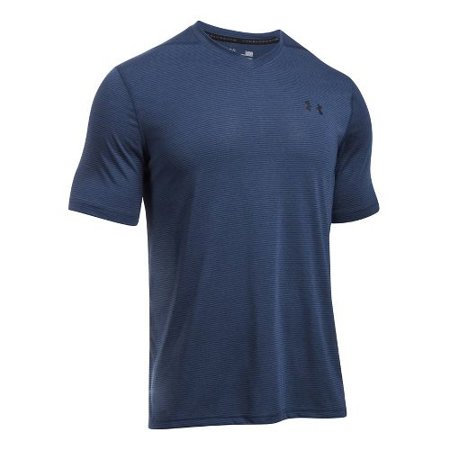 Mens Under Armour Threadborne V-Neck Novelty Short Sleeve Technical Tops - Stealth Grey/Phoenix XXL