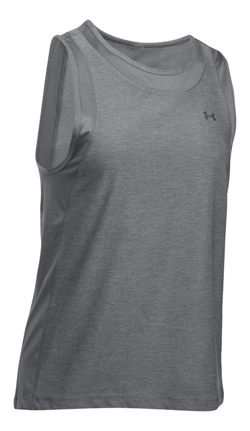 Womens Under Armour Sport Muscle- Twist Sleeveless & Tank Tops Technical Tops - Graphite XL
