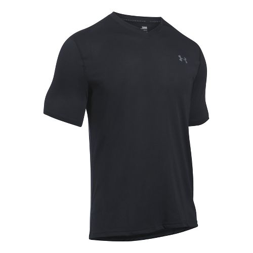 Mens Under Armour Threadborne V-Neck Short Sleeve Technical Tops - Black/Black 3XL