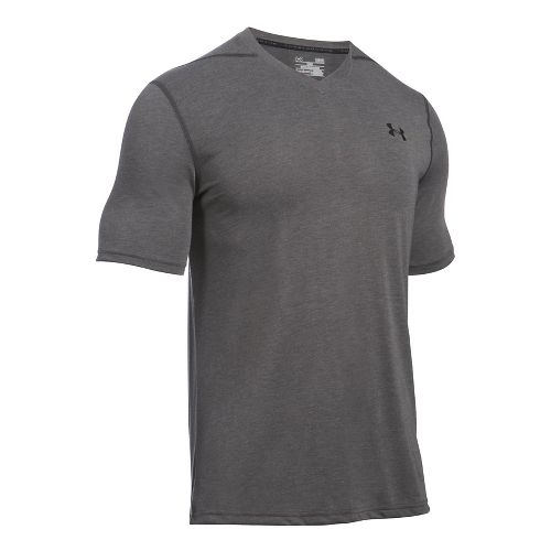 Mens Under Armour Threadborne V-Neck Short Sleeve Technical Tops - Carbon Heather/Black L