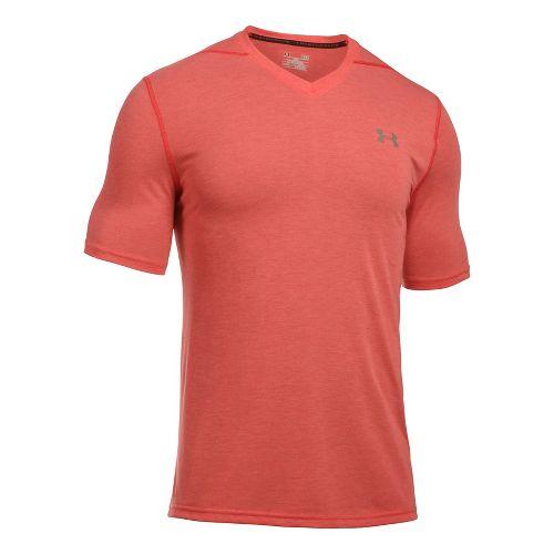 Mens Under Armour Threadborne V-Neck Short Sleeve Technical Tops - Red/Graphite XS